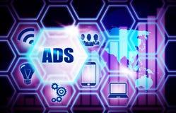 Conceito azul do modelo do fundo do ADS ilustração stock