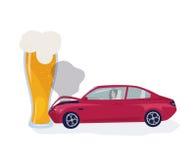 Conceito bêbedo do excitador O carro crached no vidro de cerveja Ilustração colorida do vetor ilustração stock
