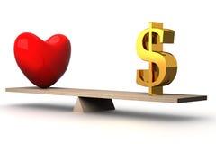 Conceito bem escolhido entre o amor e o dinheiro. Fotos de Stock