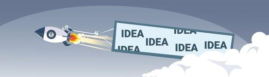 Conceito bem sucedido do projeto do negócio de Rocket With Idea Banner New Stratup do navio de espaço do voo Imagem de Stock