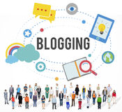 Conceito Blogging do Social dos trabalhos em rede dos meios do Internet do blogue Fotos de Stock Royalty Free