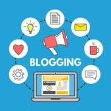 Conceito Blogging no fundo azul Portátil e ícones sociais dos meios Projeto linear do estilo Web que compartilha do conceito Illu Fotos de Stock Royalty Free