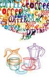 Conceito bonito na moda do café ilustração royalty free