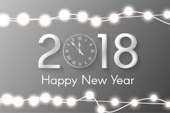 Conceito 2018 branco do ano novo com luzes de Natal realísticas no fundo dos sparkles ilustração royalty free
