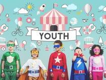 Conceito brincalhão da juventude energética das crianças das crianças imagens de stock royalty free