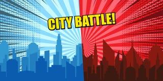 Conceito cômico da batalha da cidade ilustração stock