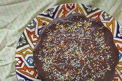 Conceito caseiro do bolo do aniversário para crianças fotos de stock