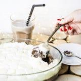 Conceito caseiro Sobremesa do inverno com marshmallow Imagens de Stock Royalty Free