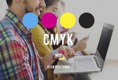 Conceito chave amarelo magenta ciano do processo de impressão a cores de CMYK imagens de stock