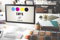 Conceito chave amarelo magenta ciano do processo de impressão a cores de CMYK fotos de stock royalty free
