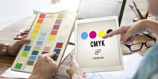 Conceito chave amarelo magenta ciano do processo de impressão a cores de CMYK fotografia de stock royalty free