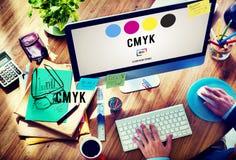 Conceito chave amarelo magenta ciano do processo de impressão a cores de CMYK imagens de stock royalty free