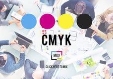 Conceito chave amarelo magenta ciano do processo de impressão a cores de CMYK foto de stock royalty free