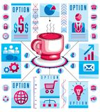 Conceito circular de Infographics com o copo do T ou do café, tração 3d Fotografia de Stock