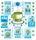 Conceito circular de Infographics com o copo do T ou do café, tração 3d ilustração do vetor