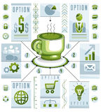 Conceito circular de Infographics com o copo do T ou do café, tração 3d Foto de Stock