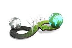 Conceito circular verde da economia, rendição 3D ilustração do vetor