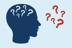 Conceito cognitivo do prejuízo da função Perfil lateral da cabeça humana com pontos de interrogação ilustração royalty free