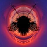 Conceito colorido abstrato da cabeça humana, por do sol azul vermelho com linha de alta tensão e sombras das árvores, arte finala ilustração do vetor