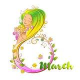 Conceito colorido do 8 de março com mulher bonita Fotografia de Stock Royalty Free