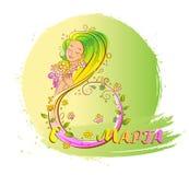 Conceito colorido do 8 de março com mulher bonita Imagem de Stock