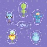 Conceito colorido do estilo dos desenhos animados do espaço Fotografia de Stock
