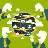 Conceito com ícones de uma comunicação global