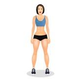Conceito com a jovem mulher do ajuste no sportswear Menina bonita dos esportes Mulher com um físico desportivo Ilustração do veto Fotografia de Stock