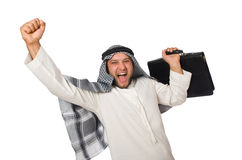 Conceito com o homem árabe isolado Foto de Stock Royalty Free