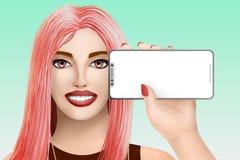 Conceito com o modelo móvel do telefone celular Menina bonita tirada no fundo colorido Ilustração fotografia de stock royalty free