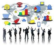 Conceito comercial de mercado dos meios do crescimento do negócio global Imagens de Stock
