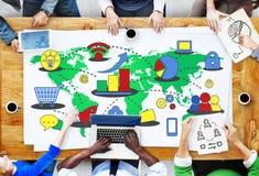 Conceito comercial de mercado dos meios do crescimento do negócio global Imagens de Stock Royalty Free