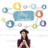 Conceito conectado estada do Internet dos trabalhos em rede de uma comunicação imagem de stock royalty free