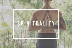 Conceito consciente da imaginação da fé da conexão da espiritualidade imagem de stock