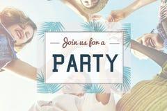 Conceito convidado convite da celebração do partido do verão fotografia de stock royalty free