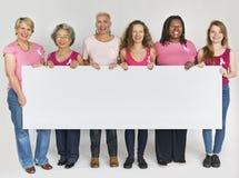 Conceito cor-de-rosa da bandeira do espaço da cópia da conscientização do câncer da mama da fita fotos de stock royalty free