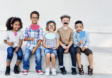 Conceito corajoso do sucesso da atividade da aspiração da criança das crianças foto de stock royalty free