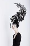 Conceito creativo Mulher futurista em Art Fabulous Headdress Imagem de Stock Royalty Free
