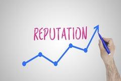 Conceito crescente da reputação na placa branca Linha de aceleração da tração do homem de negócios de melhorar a reputação contra fotografia de stock royalty free