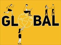 Conceito criativo da palavra global e povos que fazem coisas ilustração do vetor