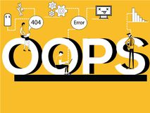 Conceito criativo da palavra Oops e povos que fazem atividades técnicas ilustração stock