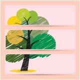 Conceito criativo das bandeiras da árvore do garrancho Imagens de Stock