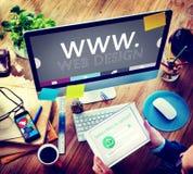 Conceito criativo dos meios do Internet do desenvolvimento de WWW da Web do design web Imagens de Stock Royalty Free