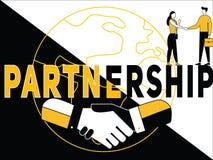 Conceito criativo Partenership da palavra e atividade dos povos ilustração do vetor