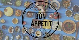 Conceito culinário da culinária de Bon Appetit Delicious Tasty Catering imagem de stock