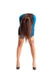 Conceito curvado esgotado da mulher de negócio imagem de stock
