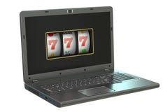 Conceito 3d de jogo em linha - o slot machine dentro do portátil, 3D arranca Fotos de Stock Royalty Free