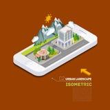 Conceito 3d isométrico infographic da rua lisa da paisagem Imagem de Stock