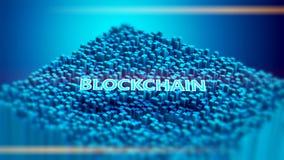 Conceito 3D virtual de Blockchain Imagem de Stock Royalty Free