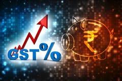 Conceito da Índia do imposto de GST no fundo do negócio 3d rendem ilustração royalty free